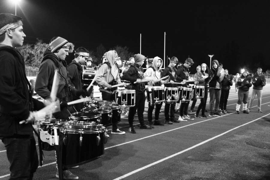 Drumline performing at a football game