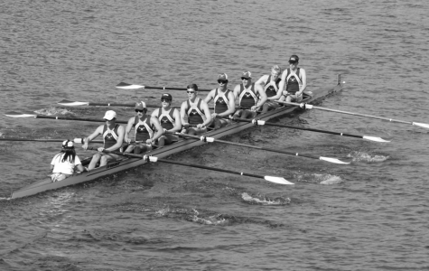 Chris Lawson, middle, at the Head of the Charles Regatta in Boston, Massachusetts, October 2017.
