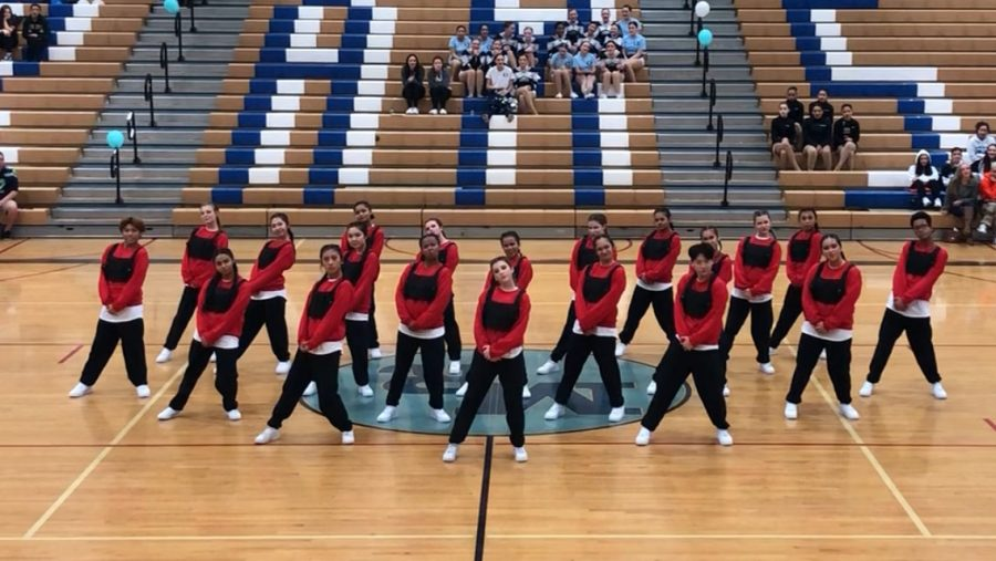 The Hip Hop team performs in the gym earlier this year